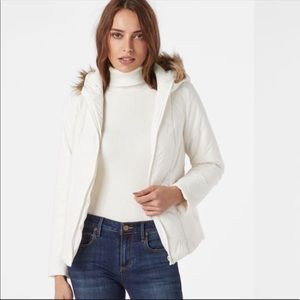 Justfab Chevron Puffer Vest NWT Size Large White